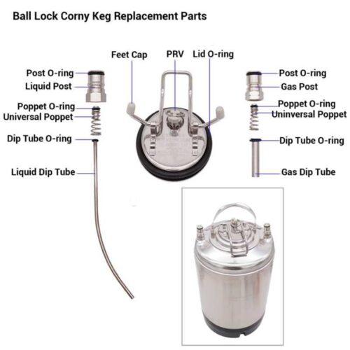 Ball lock Corny keg replacement parts